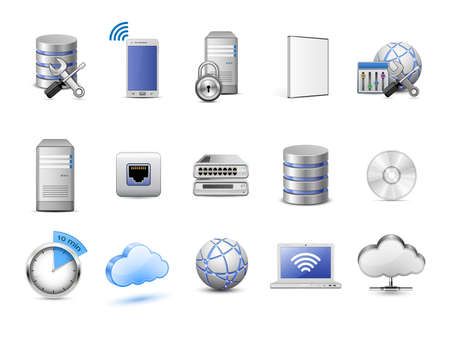 Ilustración de Cloud hosting icons. Servers, databases, network devices and cloud computing concept. Highly detailed vector icons - Imagen libre de derechos