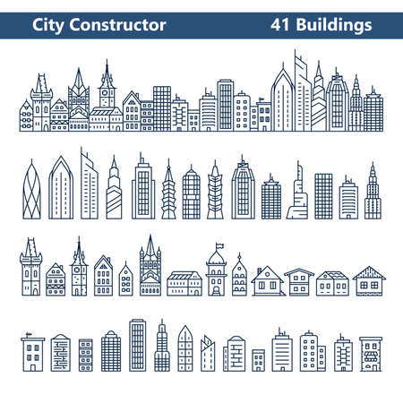 Foto de City Constructor. City skyline and 41 buildings. Collection of building icons in liner style - Imagen libre de derechos