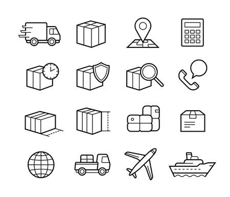 Illustration pour Parcel delivery service icon set. Fast delivery and quality service transportation. Shipping vector icons for logistic company. - image libre de droit