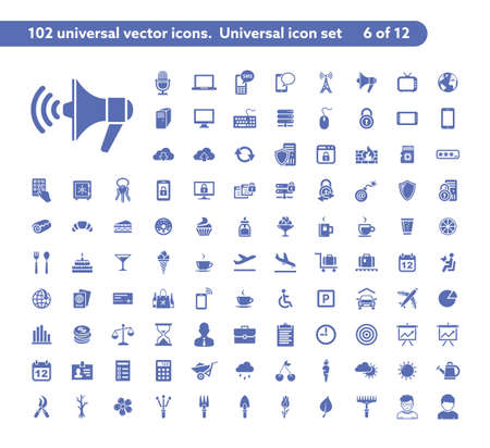 Photo pour 102 universal vector icons. The icon set includes Communication, Computer Security, Travel, Dessrt and Cafe, Gardening symbols - image libre de droit