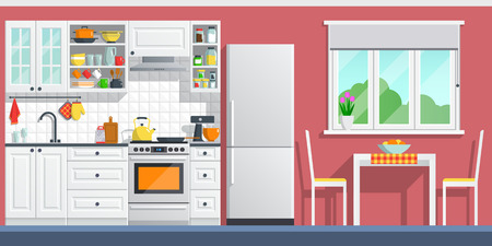 Illustration pour Kitchen interior with table, stove, cupboard, dishes and fridge. flat home art vector illustration. indoor, kitchen appliances furniture, banner cooking cartoon style. culinary decorations room. - image libre de droit