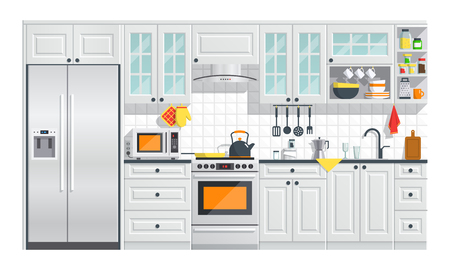 Illustration pour Kitchen appliances with gray interior on white background. flat home art vector illustration. indoor. kitchen interior with stove, cupboard, dishes and fridge. - image libre de droit