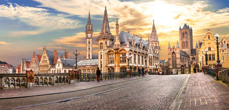 Photo for beautiful medieval Ghent over sunset. Belgium - Royalty Free Image