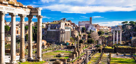 Photo for panoramic view of great roman Forums .Rome, Italy - Royalty Free Image