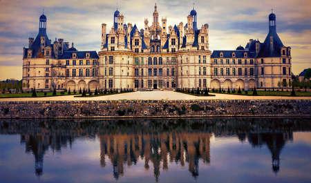 Foto de Magnificent historic monument over sunset, Chambord, Loire valley, France - Imagen libre de derechos