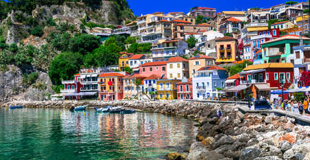 Photo pour Multicolored Parga village, traditional houses and sea, Greece. - image libre de droit