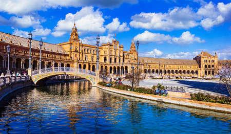 Photo for Landmarks of Spain, Plaza Espana, Sevilla, panoramic view. - Royalty Free Image
