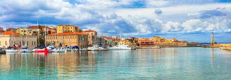 Photo pour Colorful Chania town, Crete island, Greece. - image libre de droit