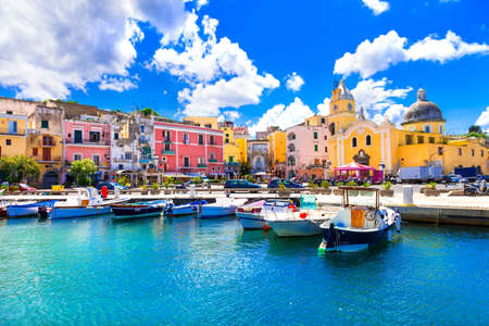 Foto de Traditional Procida village, view with colorful houses, Campania, Italy. - Imagen libre de derechos
