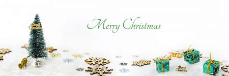 Photo for Abstract Christmas composition. Winter abstraction. Christmas decorations on white table with - Royalty Free Image