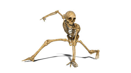 Photo pour Funny skeleton break dancing on the floor, human skeleton exercising on white background, 3D rendering - image libre de droit