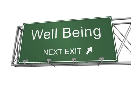 Photo pour well being road sign 3d concept illustration on white background - image libre de droit