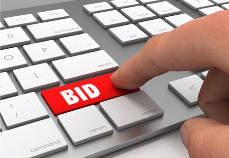 Foto de bid button concept 3d illustration - Imagen libre de derechos