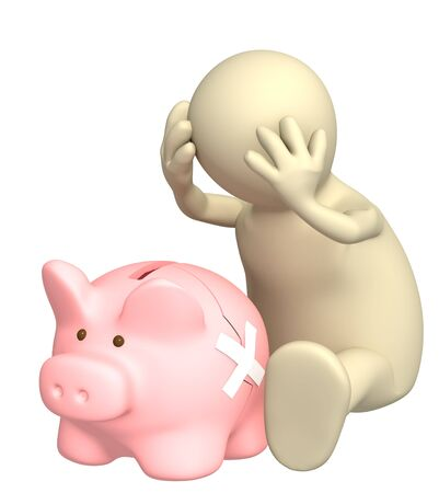 Puppet and broken piggy bank. Isolated over white