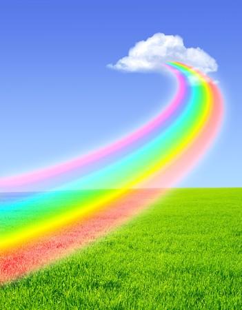 Foto de Beautiful bright rainbow in the blue sky - Imagen libre de derechos