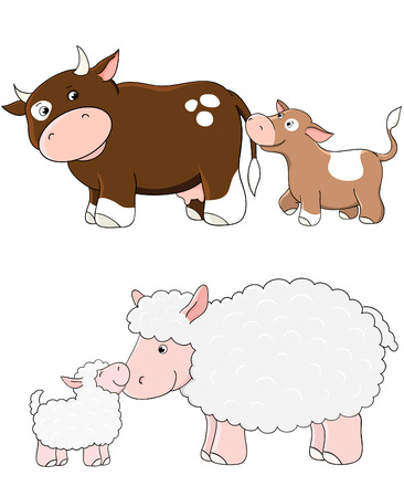 Vector cows and sheep. Farm animals with babys