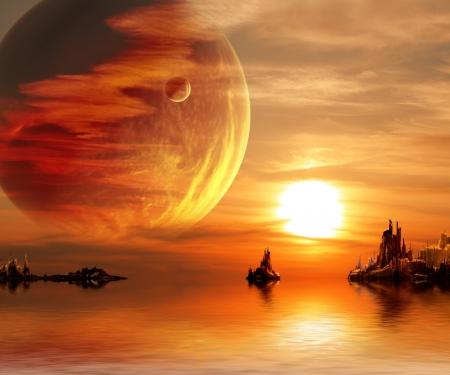 Photo pour Landscape in fantasy planet - image libre de droit