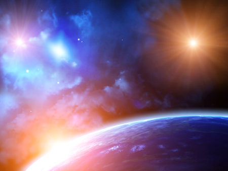 Photo pour A beautiful space scene with sun, planets and nebula - image libre de droit
