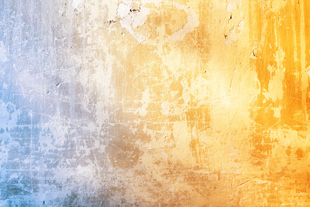 Foto de Grunge background with texture of stucco blue and ochre color - Imagen libre de derechos