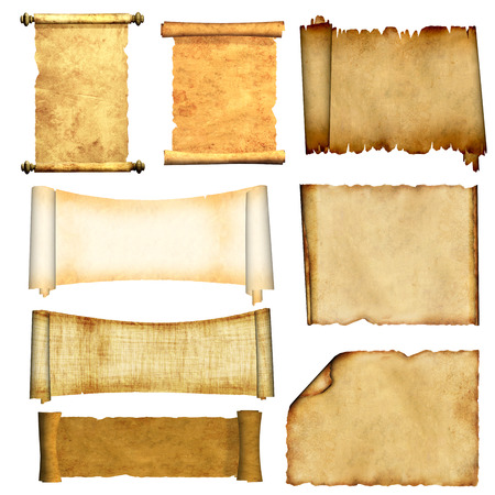 Foto de Collection of old scrolls and parchments. Isolated on white background. 3d render - Imagen libre de derechos