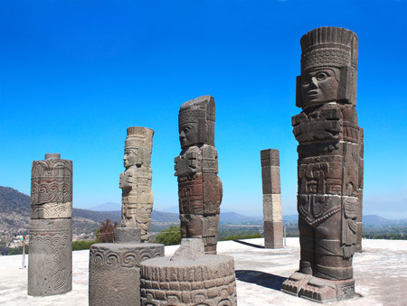 Photo for Famous Toltec Atlantes - columns on top Pyramid of Quetzalcoatl, Tula de Allende, Hidalgo state, Mexico. UNESCO world heritage site - Royalty Free Image