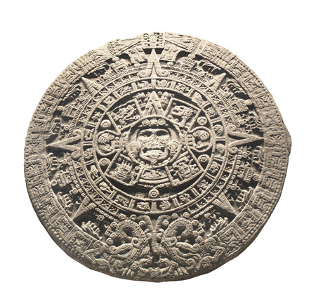 Photo for Ancient stone aztec calendar. Object isolated on white background - Royalty Free Image