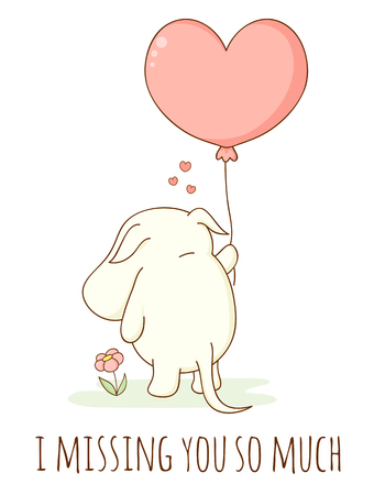 Illustration pour Cute sad cartoon animal with heart shaped balloon. Inscription I missing you so much. Isolated on white background. EPS8 - image libre de droit
