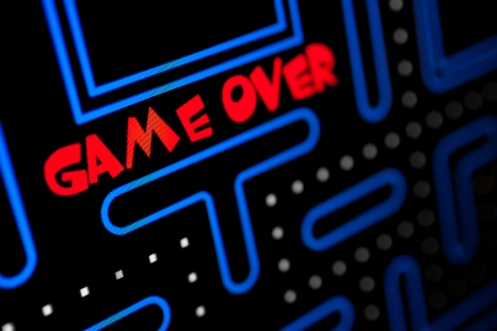 Photo pour Screen showing that the Game is Over  Macro picture of a video game  - image libre de droit