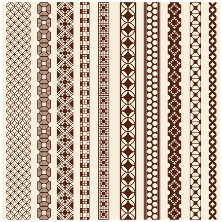 Illustration pour Indian Henna Border decoration elements patterns in brown colors. Popular ethnic border in one mega pack set collections. Vector illustrations.Could be used as divider, frame, etc - image libre de droit