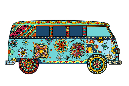 Illustration pour Vintage car a mini van in style. Hand drawn image. The popular bus model in the environment of the followers of the hippie movement. Vector illustration. - image libre de droit