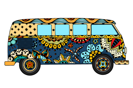 Illustration pour Vintage car a mini van in c style. Hand drawn image. The popular bus model in the environment of the followers of the hippie movement. Vector illustration. - image libre de droit
