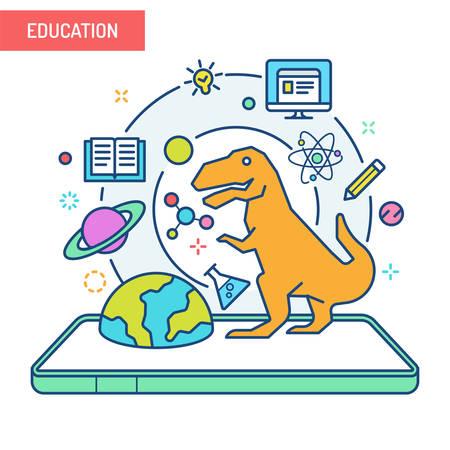 Illustration pour The concept of augmented reality in education. - image libre de droit