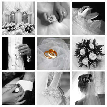 Foto de Collage of nine wedding photos in gentle  - Imagen libre de derechos