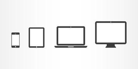 Illustration pour Device Icons  smartphone, tablet, laptop and desktop computer - image libre de droit