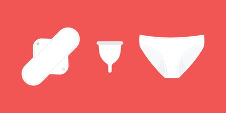 Illustration pour Zero waste feminine hygiene products. Sustainable products: cloth menstrual pad, period panties and menstrual cup. Vector illustration, flat design - image libre de droit