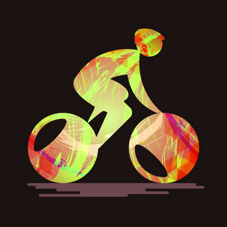 Bicycle sport card with an abstract character cycling, splash paint and flat style. Digital vector image
