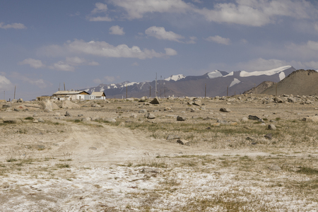 Photo pour The small town Karakul on the Pamir Highway in Tajikistan - image libre de droit