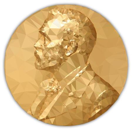 Illustration for Gold Medal Nobel Prize, graphics elaboration to polygons - Royalty Free Image