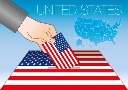Ilustración de United States of America, elections, ballot box with flag and map, USA - Imagen libre de derechos