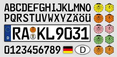 Illustrazione per Germany car license plate, letters, numbers and symbols - Immagini Royalty Free