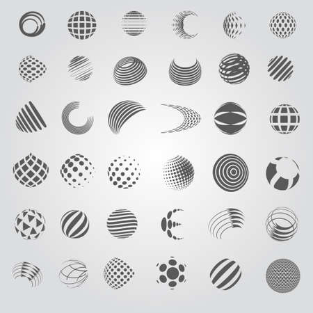 Ilustración de Sphere Icons Set - Isolated On Gray Background - Vector Illustration, Graphic Design Editable For Your Design, Flat Icons - Imagen libre de derechos