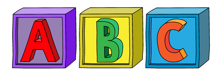 Illustration for Colorful alphabet A B C letters on cube blocks in horizontal position. - Royalty Free Image