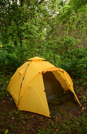 Camping with a yellow tent i