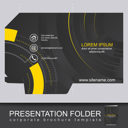 Illustration pour Abstract dark corporate folder with die cut, can be used for business presentation. Editable vector design. - image libre de droit