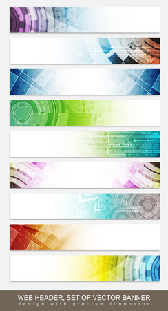 Foto de Website headers, banners with colorful abstract pattern - set. Vector illsutration. - Imagen libre de derechos
