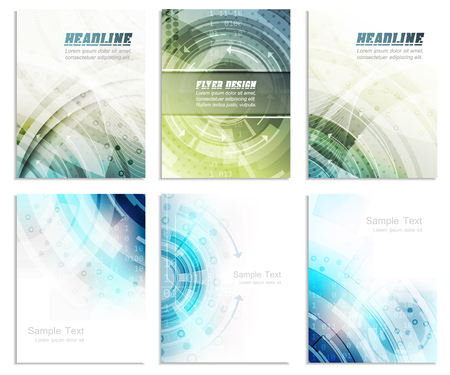 Photo for Set of abstract flyer template, magazine, brochure, cover design or corporate banner. Editable vector design with space for your content. - Royalty Free Image