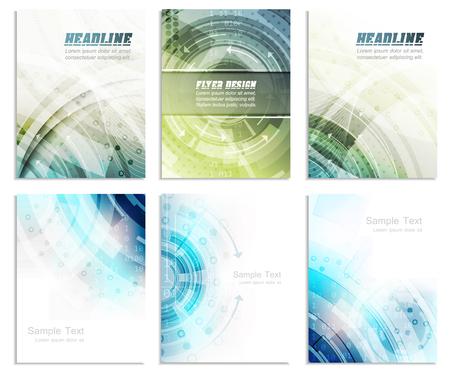 Foto de Set of abstract flyer template, magazine, brochure, cover design or corporate banner. Editable vector design with space for your content. - Imagen libre de derechos
