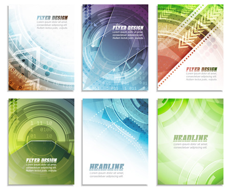 Foto de Set of abstract business flyer template, folder, brochure, cover design or corporate banner. Editable vector illustration with place for your content or creative editing. - Imagen libre de derechos