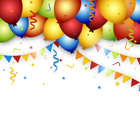 Illustration pour Balloon celebration background with flags, confetti and ribbons. - image libre de droit