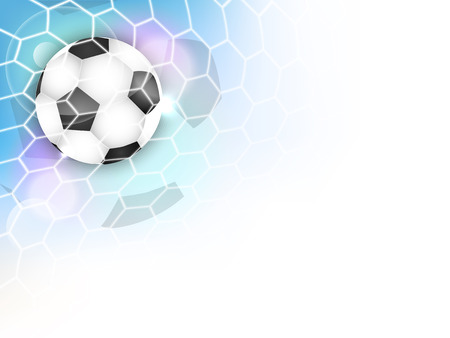 Illustration pour Soccer vector background with football ball, net, glitter and space for your content. - image libre de droit